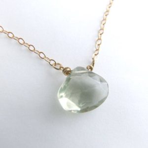 Shop Green Amethyst Jewelry! Green Amethyst necklace – Eco-friendly silver or gold green prasiolite solitaire minimal choker, layering necklace, February birthday gift | Natural genuine Green Amethyst jewelry. Buy crystal jewelry, handmade handcrafted artisan jewelry for women.  Unique handmade gift ideas. #jewelry #beadedjewelry #beadedjewelry #gift #shopping #handmadejewelry #fashion #style #product #jewelry #affiliate #ad