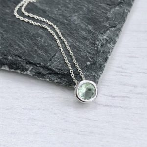 Shop Green Amethyst Jewelry! Green Amethyst Necklace, Light Green Round Bezel Pendant, Prasiolite Minimalist Layering Necklace, Dainty Gift for her under 25, Mom Gift | Natural genuine Green Amethyst jewelry. Buy crystal jewelry, handmade handcrafted artisan jewelry for women.  Unique handmade gift ideas. #jewelry #beadedjewelry #beadedjewelry #gift #shopping #handmadejewelry #fashion #style #product #jewelry #affiliate #ad