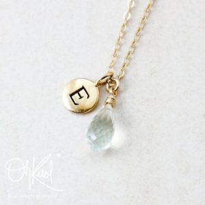 Shop Green Amethyst Pendants! Green Amethyst Gemstone Necklace, Letter Charm Pendant, Amethyst Teardrop, Light Green Stone, Hand Stamped Letter | Natural genuine Green Amethyst pendants. Buy crystal jewelry, handmade handcrafted artisan jewelry for women.  Unique handmade gift ideas. #jewelry #beadedpendants #beadedjewelry #gift #shopping #handmadejewelry #fashion #style #product #pendants #affiliate #ad