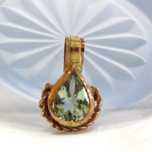 Shop Green Amethyst Pendants! Natural Untreated Green Amethyst Bezel Set Pendant in Solid 14K Yellow Gold , February stone , Wedding , 6th and 17th Anniversary , OOAK | Natural genuine Green Amethyst pendants. Buy handcrafted artisan wedding jewelry.  Unique handmade bridal jewelry gift ideas. #jewelry #beadedpendants #gift #crystaljewelry #shopping #handmadejewelry #wedding #bridal #pendants #affiliate #ad