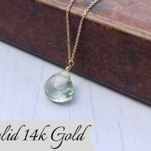 Shop Green Amethyst Pendants! Green Amethyst Necklace, February Birthstone, Mint Green Teardrop Pendant, Solid 14k Gold, Real Gold Jewelry, Minimal Layering, Gift For Her | Natural genuine Green Amethyst pendants. Buy crystal jewelry, handmade handcrafted artisan jewelry for women.  Unique handmade gift ideas. #jewelry #beadedpendants #beadedjewelry #gift #shopping #handmadejewelry #fashion #style #product #pendants #affiliate #ad