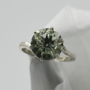 Shop Green Amethyst Rings! Prasiolite Ring, Genuine Gemstone 10mm Special Cut Faceted Round 2.87ct, February Birthstone, Set in 925 Sterling Silver 6 Prong Mounting | Natural genuine Green Amethyst rings, simple unique handcrafted gemstone rings. #rings #jewelry #shopping #gift #handmade #fashion #style #affiliate #ad