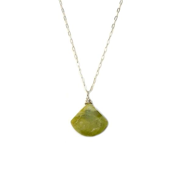 Green Serpentine Necklace Gold | Serpentine Stone Triangle Pendant | Chartreuse Necklace | Green Jasper Necklace | Lime Green Stone Necklace