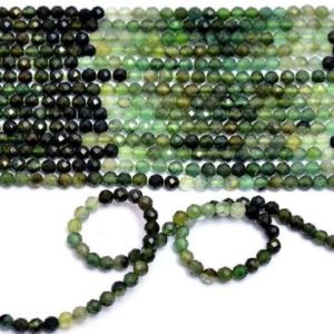 "Shop Green Tourmaline Beads! AAA+ Green Tourmaline Gemstone 3mm-4mm Faceted Beads | 13"" Strand 