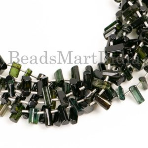 Shop Green Tourmaline Beads! Green Tourmaline Beads, Tourmaline Beads, Green Tourmaline Smooth Beads, green Tourmaline Side Drill Stick Beads, green Tourmaline Plain Beads | Natural genuine other-shape Green Tourmaline beads for beading and jewelry making.  #jewelry #beads #beadedjewelry #diyjewelry #jewelrymaking #beadstore #beading #affiliate #ad