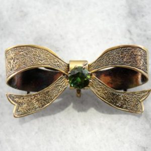 Stunning Art Nouveau Sweet Heart Bow Brooch with Green Tourmaline HMFA8K-N | Natural genuine stones & crystals in various shapes & sizes. Buy raw cut, tumbled, or polished gemstones for making jewelry or crystal healing energy vibration raising reiki stones. #crystals #gemstones #crystalhealing #crystalsandgemstones #energyhealing #affiliate #ad