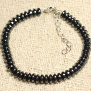 Bracelet 925 sterling silver and stone – Hematite Rondelles 6mm | Natural genuine Array bracelets. Buy crystal jewelry, handmade handcrafted artisan jewelry for women.  Unique handmade gift ideas. #jewelry #beadedbracelets #beadedjewelry #gift #shopping #handmadejewelry #fashion #style #product #bracelets #affiliate #ad
