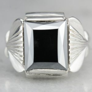 Shop Hematite Rings! Hematite Statement Ring, Sterling Silver Ring, Unisex Hematite Ring, Cabochon Ring 6ZFJ300A | Natural genuine Hematite rings, simple unique handcrafted gemstone rings. #rings #jewelry #shopping #gift #handmade #fashion #style #affiliate #ad
