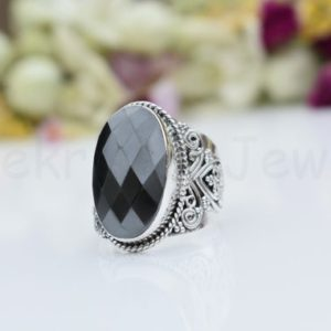 Shop Hematite Rings! Hematite Stone Ring, Sterling Silver Ring, Long Oval Gemstone Ring, Statement Ring, Faceted Gemstone, Designer Band Ring, Gift Ring, Boho | Natural genuine Hematite rings, simple unique handcrafted gemstone rings. #rings #jewelry #shopping #gift #handmade #fashion #style #affiliate #ad