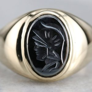 Shop Hematite Rings! Vintage Hematite Intaglio Ring, Men's Intaglio Ring, Yellow Gold Statement Ring, Right Hand Ring 8TZC5ACR | Natural genuine Hematite rings, simple unique handcrafted gemstone rings. #rings #jewelry #shopping #gift #handmade #fashion #style #affiliate #ad
