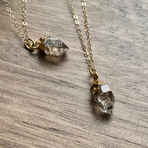 Shop Herkimer Diamond Necklaces! Herkimer Diamond Necklace, Diamond Birthstone Necklace,April Birthstone Gift,Raw Stone Necklace, Clear Crystal Necklace, Herkimer Jewelry | Natural genuine Herkimer Diamond necklaces. Buy crystal jewelry, handmade handcrafted artisan jewelry for women.  Unique handmade gift ideas. #jewelry #beadednecklaces #beadedjewelry #gift #shopping #handmadejewelry #fashion #style #product #necklaces #affiliate #ad