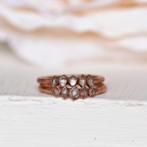 Raw Herkimer Ring, Eternity Ring Band, Electroformed Ring, Raw Crystal Jewelry, Stacking Ring, Gift for Her, Boho Ring, Wedding Anniversary | Natural genuine Gemstone rings, simple unique alternative gemstone engagement rings. #rings #jewelry #bridal #wedding #jewelryaccessories #engagementrings #weddingideas #affiliate #ad