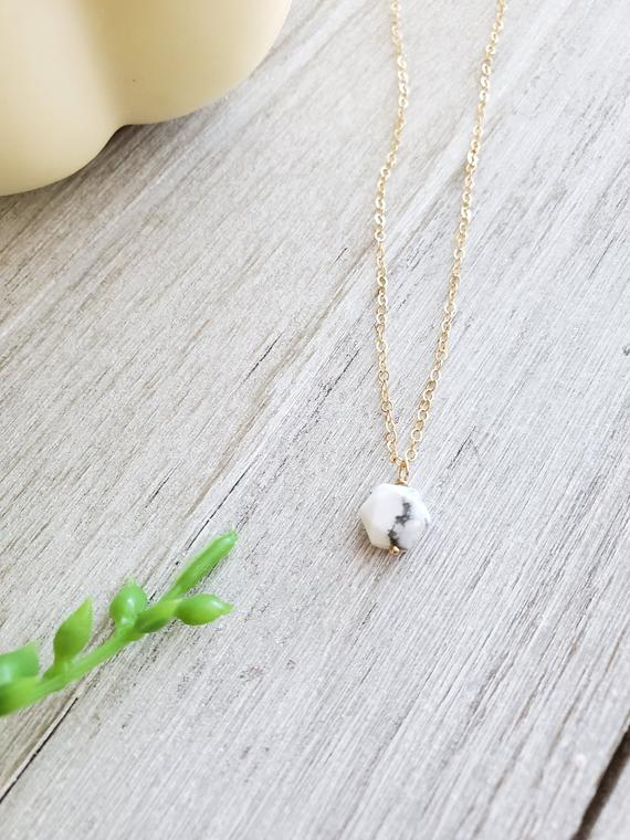 Hexagon Necklace, Howlite Necklace, Marble Stone Necklace, Layering Necklace, Geometric Necklace, Dainty Necklace