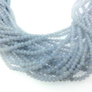 """Shop Blue Lace Agate Rondelle Beads! Holiday Special! 2-3mm x 2-3mm Faceted Blue Lace Agate Rondelle Beads – 13"""" Strand (~ 130 Beads) 