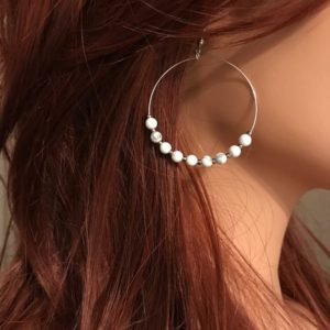 Shop Howlite Earrings! Howlite Earrings: Large Single Silver Hoop | Natural genuine Howlite earrings. Buy crystal jewelry, handmade handcrafted artisan jewelry for women.  Unique handmade gift ideas. #jewelry #beadedearrings #beadedjewelry #gift #shopping #handmadejewelry #fashion #style #product #earrings #affiliate #ad
