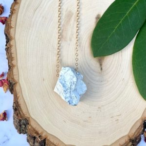 Shop Howlite Necklaces! Howlite Necklace, Large Stone Layering Necklace, Raw White Howlite | Natural genuine Howlite necklaces. Buy crystal jewelry, handmade handcrafted artisan jewelry for women.  Unique handmade gift ideas. #jewelry #beadednecklaces #beadedjewelry #gift #shopping #handmadejewelry #fashion #style #product #necklaces #affiliate #ad