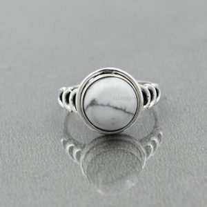Shop Howlite Rings! Howlite Ring, Sterling Silver, White Howlite 10 mm Round Ring, Statement Ring, Silver Ring, White Stone Ring, Women Ring, Gemstone Ring | Natural genuine Howlite rings, simple unique handcrafted gemstone rings. #rings #jewelry #shopping #gift #handmade #fashion #style #affiliate #ad