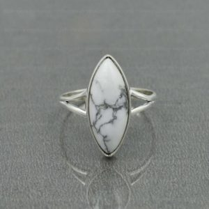 Shop Howlite Jewelry! Howlite Ring, Sterling Silver, White Howlite 8×20 mm Marquise Ring, Statement Ring, Silver Ring, White Stone Ring, Women Ring, Gemstone Ring | Natural genuine Howlite jewelry. Buy crystal jewelry, handmade handcrafted artisan jewelry for women.  Unique handmade gift ideas. #jewelry #beadedjewelry #beadedjewelry #gift #shopping #handmadejewelry #fashion #style #product #jewelry #affiliate #ad