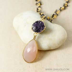 Gold Purple Druzy & Pink Chalcedony Teardrop Necklace, Blue Iolite Cluster Chain, Statement Necklace | Natural genuine Gemstone necklaces. Buy crystal jewelry, handmade handcrafted artisan jewelry for women.  Unique handmade gift ideas. #jewelry #beadednecklaces #beadedjewelry #gift #shopping #handmadejewelry #fashion #style #product #necklaces #affiliate #ad