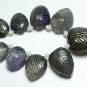 4 Inches Strand Natural Iolite Carved Beads 9x11mm to 16x21mm Gems Briolettes Gemstone Carving Beads Superb Iolite Stone Leaves No931 | Natural genuine other-shape Gemstone beads for beading and jewelry making.  #jewelry #beads #beadedjewelry #diyjewelry #jewelrymaking #beadstore #beading #affiliate #ad