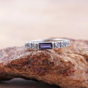 Shop Iolite Rings! Adorable Blue Iolite Ring With Cubic Zirconia/ 3*5 MM Baguette Shape Blue Iolite Ring For Special One/ 925 Sterling Silver Ring Of Iolite | Natural genuine Iolite rings, simple unique handcrafted gemstone rings. #rings #jewelry #shopping #gift #handmade #fashion #style #affiliate #ad
