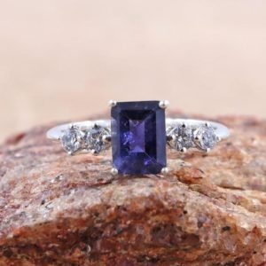 Shop Iolite Rings! Amazing Ring Of Iolite With Cubic Zirconia For Special One/ 6*8 MM Octagon Shape Iolite Ring/ 925 Sterling Silver Ring Of Blue Iolite | Natural genuine Iolite rings, simple unique handcrafted gemstone rings. #rings #jewelry #shopping #gift #handmade #fashion #style #affiliate #ad