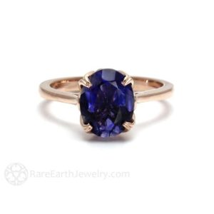 Shop Iolite Rings! Iolite Ring Flower Solitaire Purple Blue Gemstone Ring 14K or 18K White Yellow Rose Gold | Natural genuine Iolite rings, simple unique handcrafted gemstone rings. #rings #jewelry #shopping #gift #handmade #fashion #style #affiliate #ad