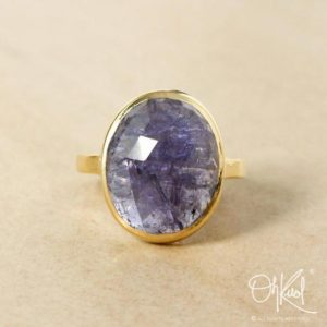 Shop Iolite Jewelry! Gold Oval Blue Iolite Statement Ring – Blue Iolite Stone Ring – Choose Your Setting | Natural genuine Iolite jewelry. Buy crystal jewelry, handmade handcrafted artisan jewelry for women.  Unique handmade gift ideas. #jewelry #beadedjewelry #beadedjewelry #gift #shopping #handmadejewelry #fashion #style #product #jewelry #affiliate #ad