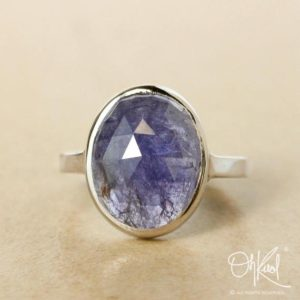 Silver Oval Blue Iolite Ring – Rose Cut Blue Iolite – Cocktail Ring | Natural genuine Gemstone rings, simple unique handcrafted gemstone rings. #rings #jewelry #shopping #gift #handmade #fashion #style #affiliate #ad
