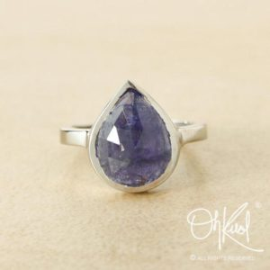 Shop Iolite Rings! Silver Pear Cut Blue Iolite Statement Ring – Iolite Jewelry, Natural Iolite, Silver Iolite Ring | Natural genuine Iolite rings, simple unique handcrafted gemstone rings. #rings #jewelry #shopping #gift #handmade #fashion #style #affiliate #ad