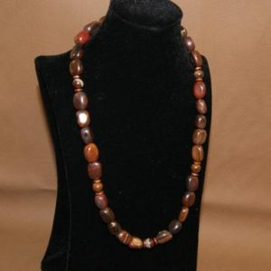 Shop Petrified Wood Necklaces! Iron Stone and Petrified Wood Necklace with Copper Saucer Bead Accents | Natural genuine Petrified Wood necklaces. Buy crystal jewelry, handmade handcrafted artisan jewelry for women.  Unique handmade gift ideas. #jewelry #beadednecklaces #beadedjewelry #gift #shopping #handmadejewelry #fashion #style #product #necklaces #affiliate #ad