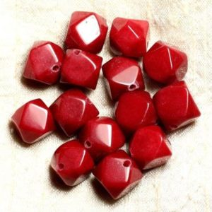Shop Jade Chip & Nugget Beads! 2pc – Stone – Red Jade Beads Faceted Nuggets 14-15mm 4558550008602 Cubes | Natural genuine chip Jade beads for beading and jewelry making.  #jewelry #beads #beadedjewelry #diyjewelry #jewelrymaking #beadstore #beading #affiliate #ad