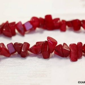 """Shop Jade Chip & Nugget Beads! M/ Red Jade 10mm Chips beads  15.5"""" strand Size varies Dyed red jade nephrite beads for jewelry making 