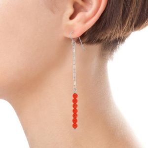 Shop Jade Earrings! Super Long Red Earrings, Red Jade Gemstones in Silver Jewelry, Gifts for Wife, Daughter & Girlfriend | Natural genuine Jade earrings. Buy crystal jewelry, handmade handcrafted artisan jewelry for women.  Unique handmade gift ideas. #jewelry #beadedearrings #beadedjewelry #gift #shopping #handmadejewelry #fashion #style #product #earrings #affiliate #ad
