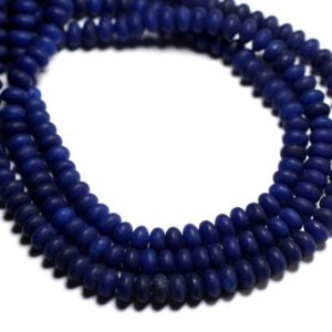 Shop Jade Rondelle Beads! 30pc – stone beads – Jade Rondelles 5x3mm Midnight Blue matte frosted – 8741140001015 | Natural genuine rondelle Jade beads for beading and jewelry making.  #jewelry #beads #beadedjewelry #diyjewelry #jewelrymaking #beadstore #beading #affiliate #ad