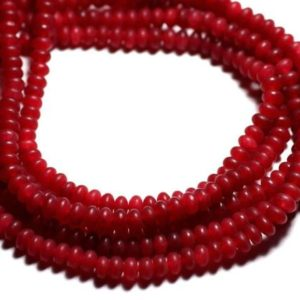 Shop Jade Rondelle Beads! Wire 39cm 114pc env – stone beads – Jade Rondelles 5x3mm red cherry matte | Natural genuine rondelle Jade beads for beading and jewelry making.  #jewelry #beads #beadedjewelry #diyjewelry #jewelrymaking #beadstore #beading #affiliate #ad