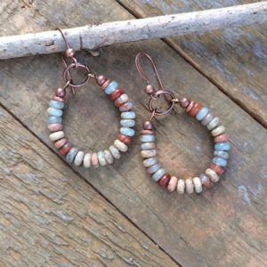 Shop Jasper Earrings! African Opal Earrings, Small Copper Hoop Earrings, Jasper Stone Jewelry, Earthy Stone Jewelry, Mothers Day Earrings, Horseshoe Earrings | Natural genuine Jasper earrings. Buy crystal jewelry, handmade handcrafted artisan jewelry for women.  Unique handmade gift ideas. #jewelry #beadedearrings #beadedjewelry #gift #shopping #handmadejewelry #fashion #style #product #earrings #affiliate #ad