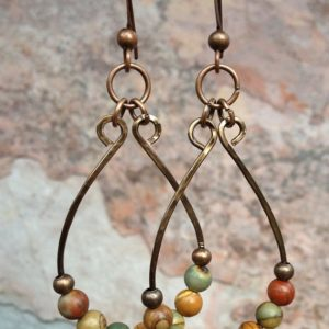 Shop Jasper Earrings! Boho Hoop Earrings, Boho Jewelry, Red Creek Jasper Earrings, Boho Chic Jewelry, Hammered Copper Earrings, Copper Jewelry, Colorful Earrings | Natural genuine Jasper earrings. Buy crystal jewelry, handmade handcrafted artisan jewelry for women.  Unique handmade gift ideas. #jewelry #beadedearrings #beadedjewelry #gift #shopping #handmadejewelry #fashion #style #product #earrings #affiliate #ad