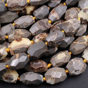 """Shop Jasper Faceted Beads! Natural Utah Septarian Beads Large Chunky Faceted Tube Barrel Nugget Irregular Freeform Nodule Yellow Brown Gray Jasper 15.5"""" Strand 