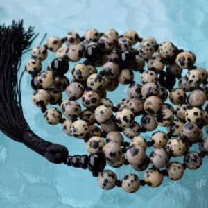 Shop Jasper Necklaces! 108 Black White Beaded Dalmatian Jasper mala beads necklace stone Yoga necklace Knotted prayer beads Jasper Jewelry Trendy stone necklace | Natural genuine Jasper necklaces. Buy crystal jewelry, handmade handcrafted artisan jewelry for women.  Unique handmade gift ideas. #jewelry #beadednecklaces #beadedjewelry #gift #shopping #handmadejewelry #fashion #style #product #necklaces #affiliate #ad