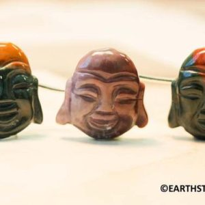 XL/ Natural Fancy Jasper 30x35mm Carved Buddha Head Loose Beads. 9 Pc per strand. Oriental Carving.Good Luck Buddha. Multi color Jasper | Natural genuine other-shape Gemstone beads for beading and jewelry making.  #jewelry #beads #beadedjewelry #diyjewelry #jewelrymaking #beadstore #beading #affiliate #ad
