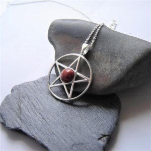 Shop Jasper Pendants! Pentagram Necklace, Handcrafted Stone, Natural Jasper, Large Circle Pendant, Red Brown, Star Pendant, Sterling Silver, Lapidary Pendants, UK | Natural genuine Jasper pendants. Buy crystal jewelry, handmade handcrafted artisan jewelry for women.  Unique handmade gift ideas. #jewelry #beadedpendants #beadedjewelry #gift #shopping #handmadejewelry #fashion #style #product #pendants #affiliate #ad
