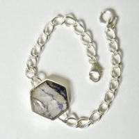 Blue John & Whitby Jet Reversible Silver Link Chain Bracelet – Handmade In Sheffield – Sterling Silver | Natural genuine Gemstone jewelry. Buy crystal jewelry, handmade handcrafted artisan jewelry for women.  Unique handmade gift ideas. #jewelry #beadedjewelry #beadedjewelry #gift #shopping #handmadejewelry #fashion #style #product #jewelry #affiliate #ad