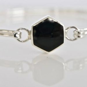 Shop Jet Bracelets! Whitby Jet Bangle Handmade in Silver   Natural genuine Jet bracelets. Buy crystal jewelry, handmade handcrafted artisan jewelry for women.  Unique handmade gift ideas. #jewelry #beadedbracelets #beadedjewelry #gift #shopping #handmadejewelry #fashion #style #product #bracelets #affiliate #ad