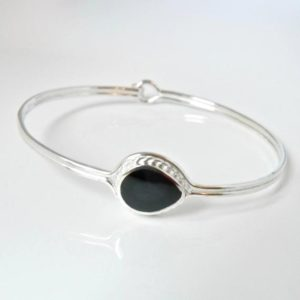 Shop Jet Bracelets! Whitby Jet Bangle – Pear shaped – Handmade – Sterling Silver | Natural genuine Jet bracelets. Buy crystal jewelry, handmade handcrafted artisan jewelry for women.  Unique handmade gift ideas. #jewelry #beadedbracelets #beadedjewelry #gift #shopping #handmadejewelry #fashion #style #product #bracelets #affiliate #ad