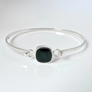 Shop Jet Bracelets! Whitby Jet Tension Bangle Rounded Square Design – Handmade in Sheffield | Natural genuine Jet bracelets. Buy crystal jewelry, handmade handcrafted artisan jewelry for women.  Unique handmade gift ideas. #jewelry #beadedbracelets #beadedjewelry #gift #shopping #handmadejewelry #fashion #style #product #bracelets #affiliate #ad