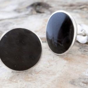 Shop Jet Earrings! Whitby Jet Stud Earrings With Sterling Silver – Stud Earrings – Gemstone Earrings – Size Large – Round Shape. | Natural genuine Jet earrings. Buy crystal jewelry, handmade handcrafted artisan jewelry for women.  Unique handmade gift ideas. #jewelry #beadedearrings #beadedjewelry #gift #shopping #handmadejewelry #fashion #style #product #earrings #affiliate #ad