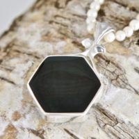 Ammonite & Whitby Jet Pendant – Handmade Silver Double Sided Pendant   Natural genuine Gemstone jewelry. Buy crystal jewelry, handmade handcrafted artisan jewelry for women.  Unique handmade gift ideas. #jewelry #beadedjewelry #beadedjewelry #gift #shopping #handmadejewelry #fashion #style #product #jewelry #affiliate #ad