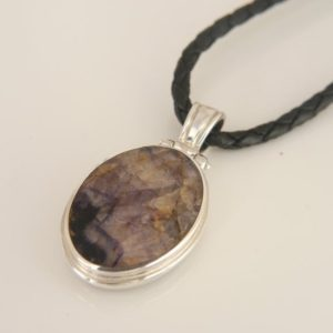 Shop Jet Pendants! Blue John & Whitby Jet Double Sided Oval Pendant – Handmade – Sterling Silver   Natural genuine Jet pendants. Buy crystal jewelry, handmade handcrafted artisan jewelry for women.  Unique handmade gift ideas. #jewelry #beadedpendants #beadedjewelry #gift #shopping #handmadejewelry #fashion #style #product #pendants #affiliate #ad