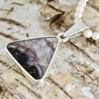 Blue John Pendant – Whitby Jet Pendant – Handmade Sterling Silver Pendant Set With Blue John & Whitby Jet | Natural genuine Gemstone jewelry. Buy crystal jewelry, handmade handcrafted artisan jewelry for women.  Unique handmade gift ideas. #jewelry #beadedjewelry #beadedjewelry #gift #shopping #handmadejewelry #fashion #style #product #jewelry #affiliate #ad